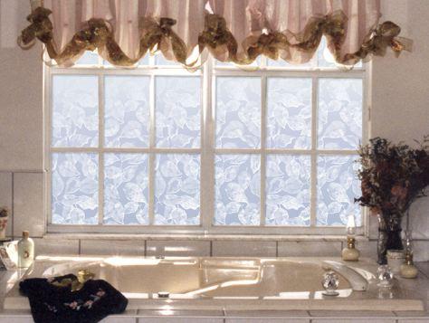 Etched bath window